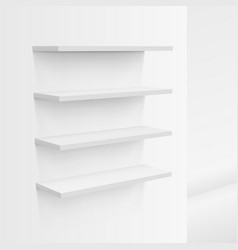 3d empty white shop shelf on wall vector