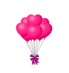 3d realistic bunch of pink birthday or valentines vector image