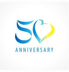 50 anniversary logo heart vector image