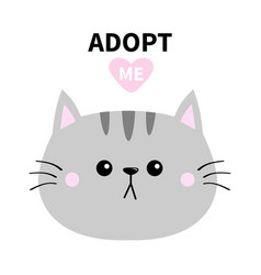 Adopt me dont buy gray cat round head silhouette vector