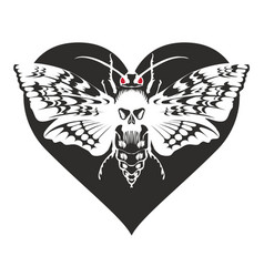 Banner with butterfly dead head on the heart vector
