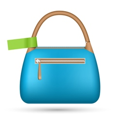 Blue woman spring bag with green sticker isolated vector image