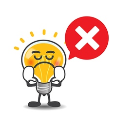 Bulb lamp cartoon isolated say no with red speech vector image