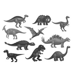 cartoon dinosaurs icons set jurassic characters vector image