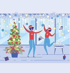 christmas celebration at work with music and dance vector image