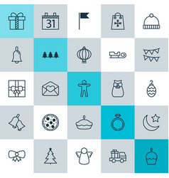 Christmas icons set collection of traditional vector