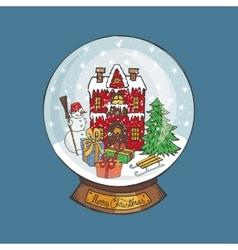 Christmas Snow globeDoodle town vector