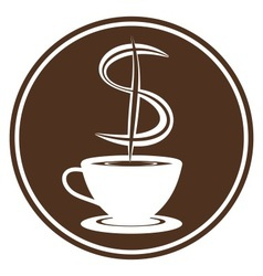 Coffee cup with steam in dollar shape vector