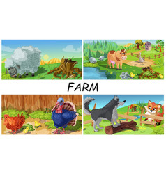 colorful farm animals concept vector image
