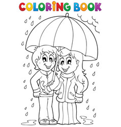 coloring book rainy weather theme 1 vector image