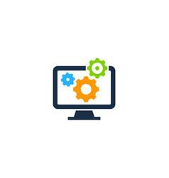 computer gear logo icon design vector image