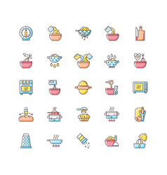 Cooking instruction rgb color icons set vector