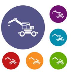 crane truck icons set vector image