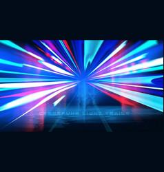 cyberpunk light trails effect vector image