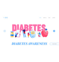 Diabetes sickness landing page template tiny vector