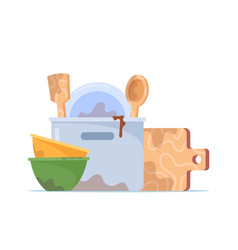 Dirty dishes pile stack bowls plate cooking vector