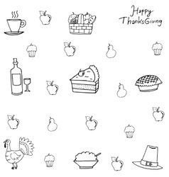 Doodle of Thanksgiving with hand draw vector image