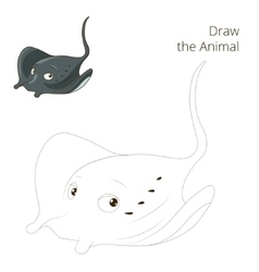 Draw the fish animal stingray educational game vector image