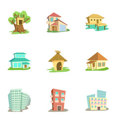 Dwelling icons set cartoon style vector