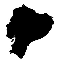 ecuador - solid black silhouette map of country vector image