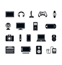 Electronic gadgets silhouette icons set stylish vector