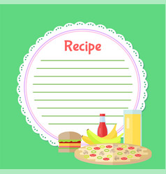 Fast food and juice recipe empty list vector