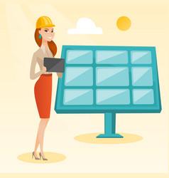 Female worker of solar power plant vector
