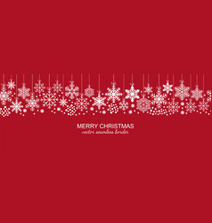 festive white seamless snowflake border on red vector image