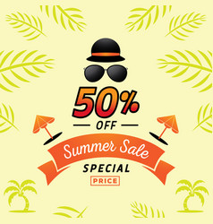 Fifty percent off for summer with hat and vector