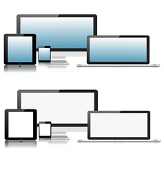 Flat Computer Laptop Tablet Phone Devices vector image