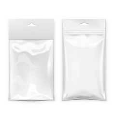 Flexible pillow foil bag for food or snack vector