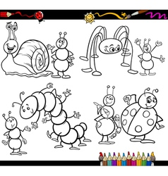 Funny insects set for coloring book vector