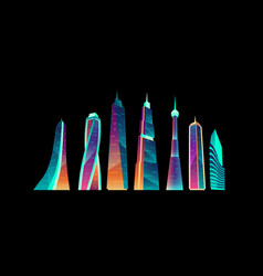 Futuristic city buildings with neon glowing set vector