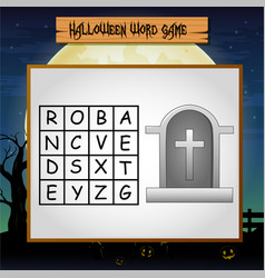 Game halloween find the word of tombstone vector