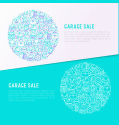 Garage sale concept in circle with thin line icons vector