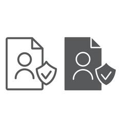 gdpr personall data line and glyph icon private vector image