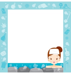 Girl Relaxing In Hot Spring Border vector image