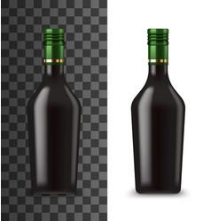 Glass bottle chocolate cream liquor 3d mockup vector
