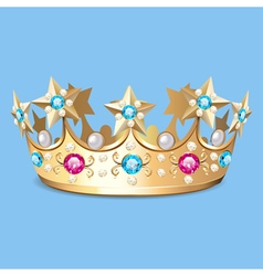 Golden crown with pearls Crown vector
