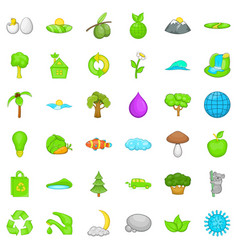 Green planet icons set cartoon style vector