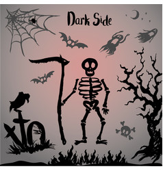Halloween skeleton on a graveyard vector