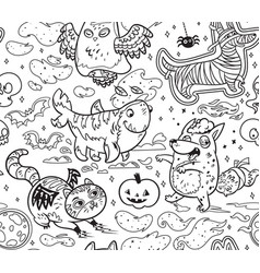 halloween surface pattern with cute cartoon vector image