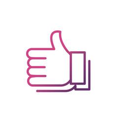 Hand like network social media icon line vector