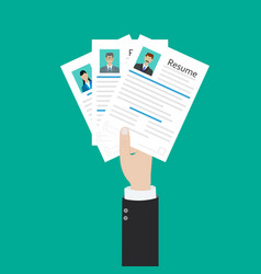 hands holding cv resume documents human resources vector image