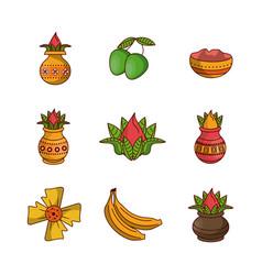 Happy ugadi icons vector