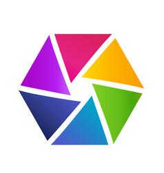 hexagon shape made of triangles creative shape vector image