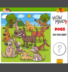 How many dogs educational game for kids vector