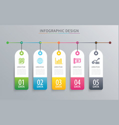 Infographics tag banner 5 option template vector