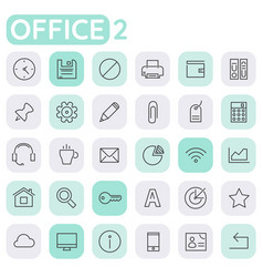 Inline office icons collection trendy linear vector