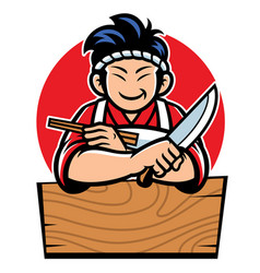 japan chef with cartoon style vector image